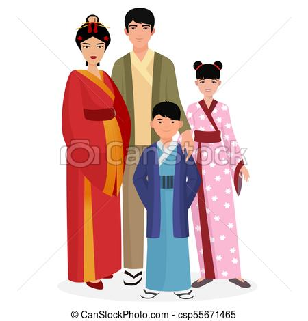 Japanese family. Japanese man and woman with boy and girl kids in  traditional national clothes..