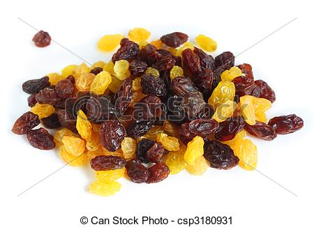 Stock Photography of Mixed black and white raisins.