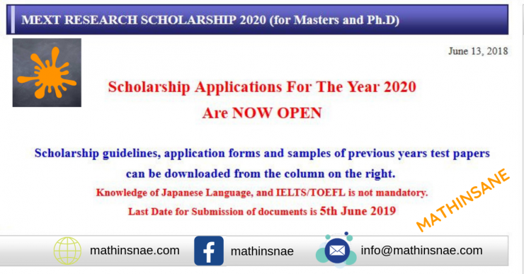 MEXT RESEARCH SCHOLARSHIP 2020 (for Masters and Ph.D).