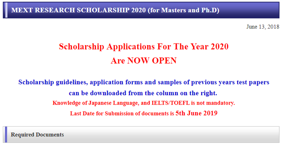 MEXT Japan Scholarship 2020 for Bachelor, Master & PhD [Fully Funded.