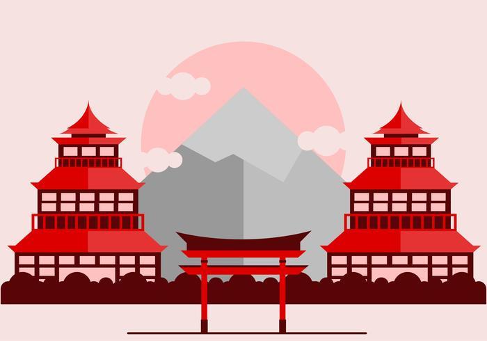 Red Japanese Shrine Vector.