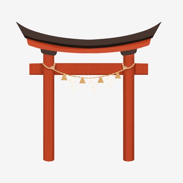 Japanese Shrine Door Vector Material, Open Door, Arch, Gate PNG.