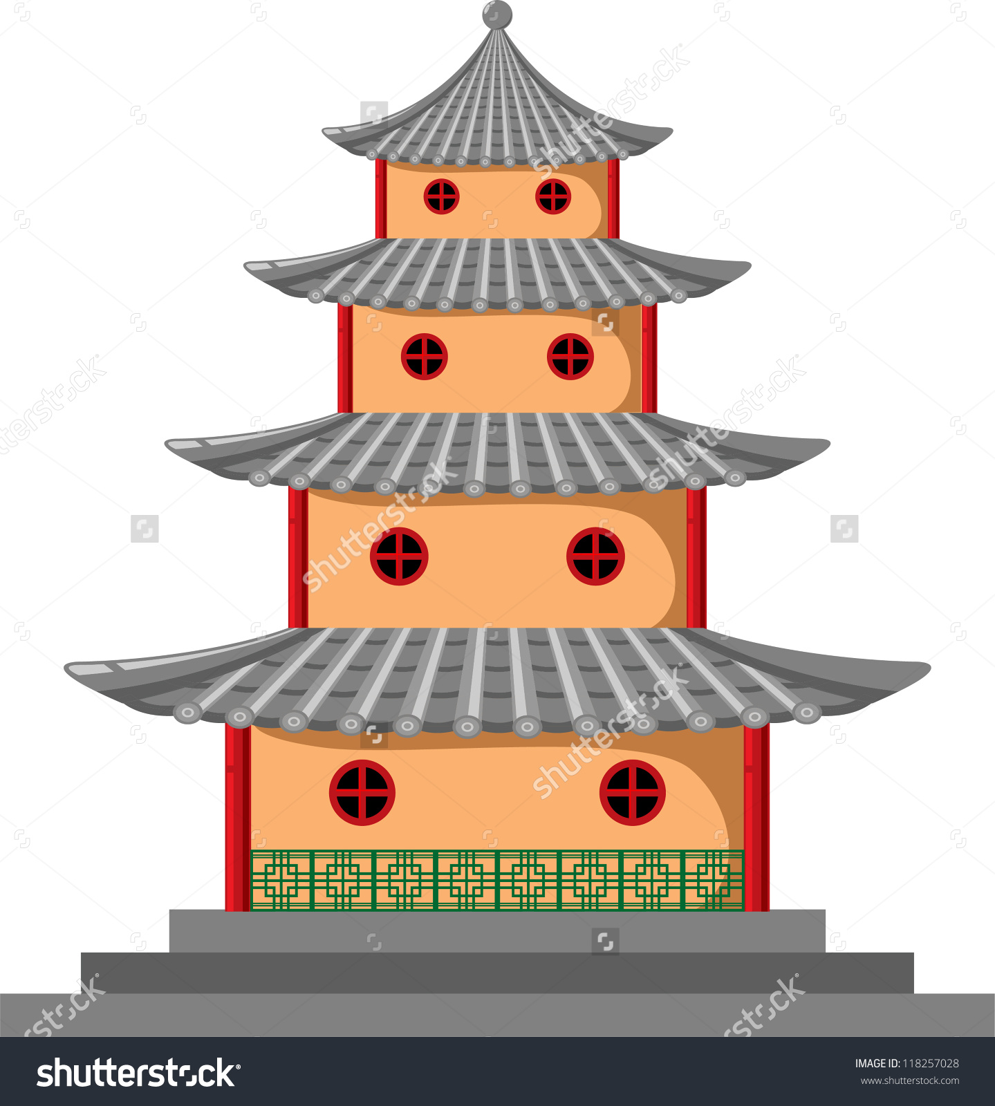 Japanese Temple Stock Vector 118257028