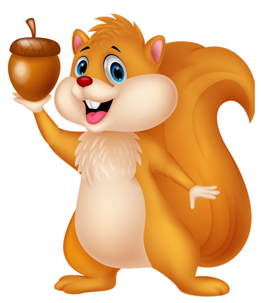 Cute Squirrel with Acorn PNG Cartoon Clipart.