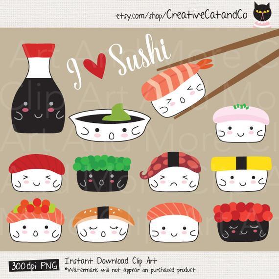 Sushi Clipart Sushi Clip Art Cute Japanese Sushi Food Digital Sticker Cute  Japan Food Emotion Clipart Sushi Digital Sticker.