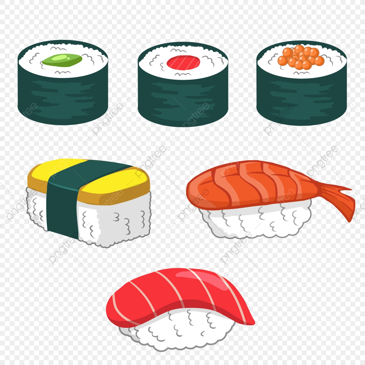 Cartoon Hand Drawn Japanese Sushi, Japan, Sushi, Cartoon PNG.