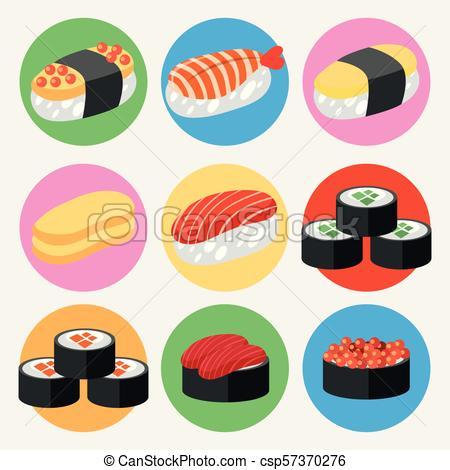 A Set of Japanese Sushi.