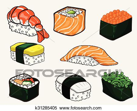 Japanese sushi collection. Vector Clipart.