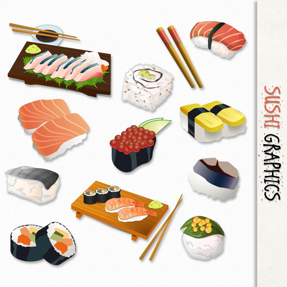 Sushi Graphics Japanese Food.