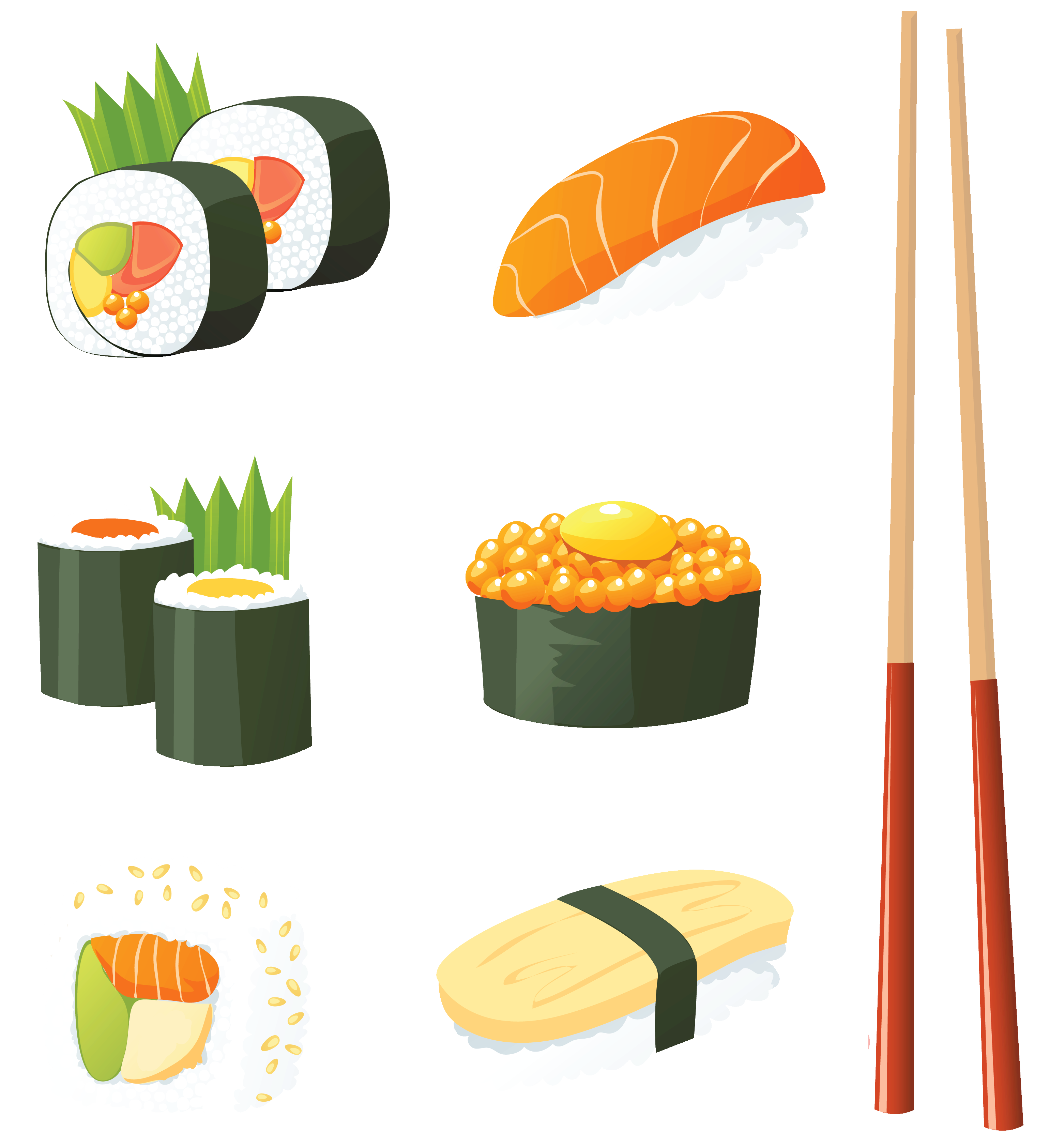 Japanese Sushi PNG Vector Clipart.