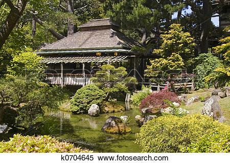 Stock Image of tea house japanese garden k0704645.