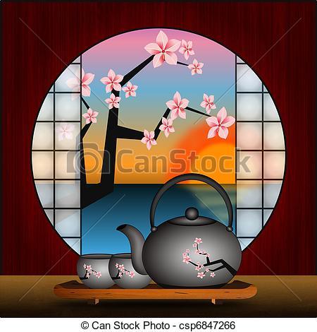 Japanese tea house clipart.