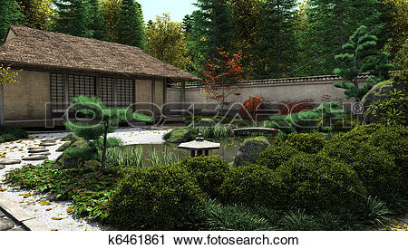 Clipart of Japanese Tea House and Pond k6461861.