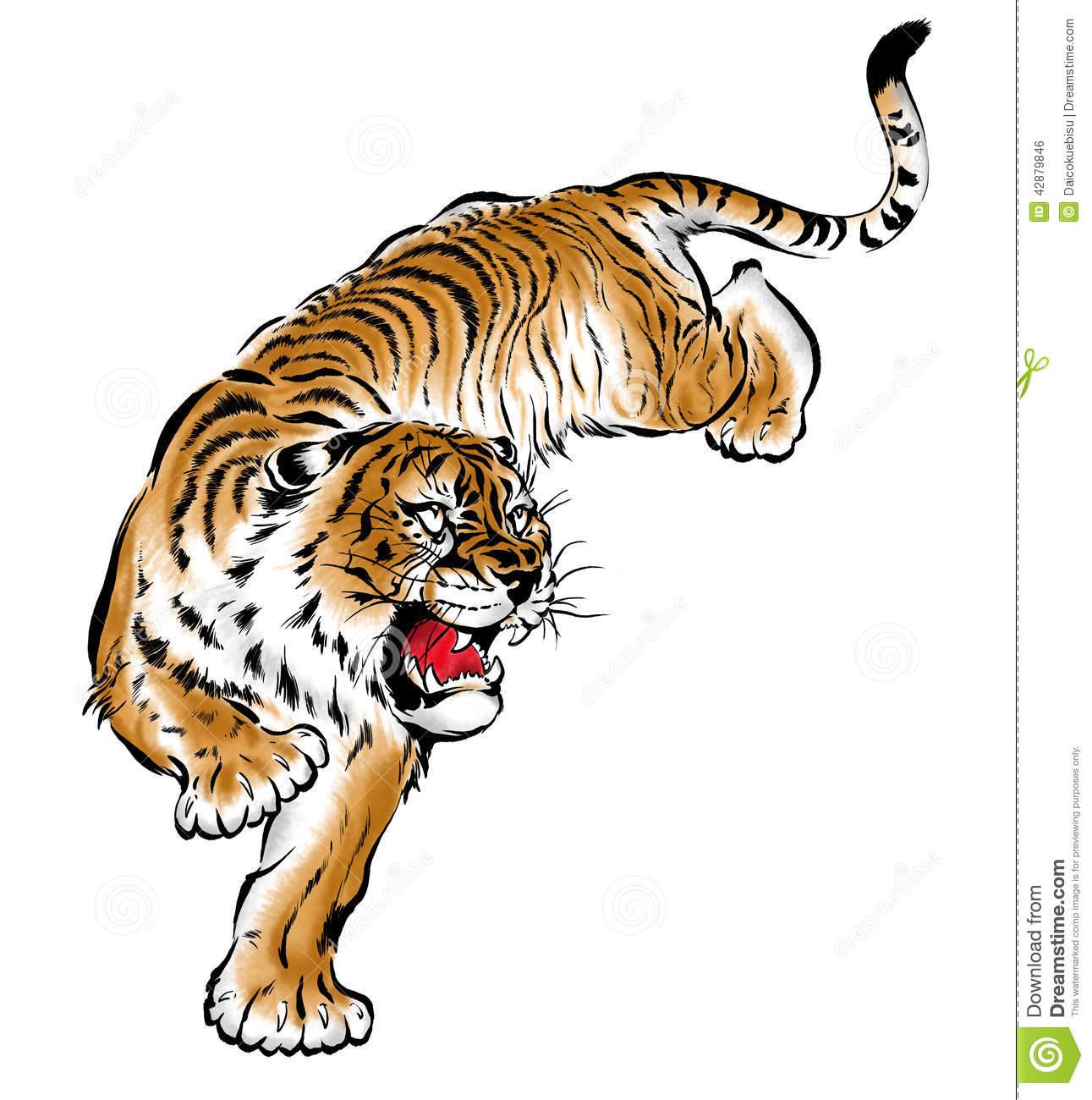 Japanese tiger stock illustration. Illustration of material.