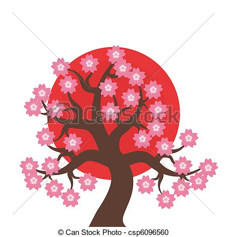 Vector Clipart of japanese style illustration with cherry tree on.