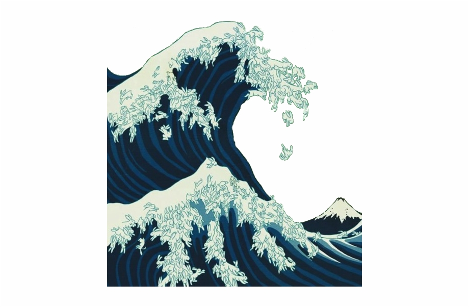 Japanese Transparent Wave Great Wave Off Kanagawa Cats.