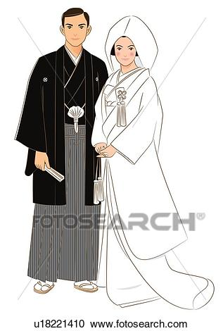 Bridal couple standing side by side in Japanese style clothing, front view  Clipart.