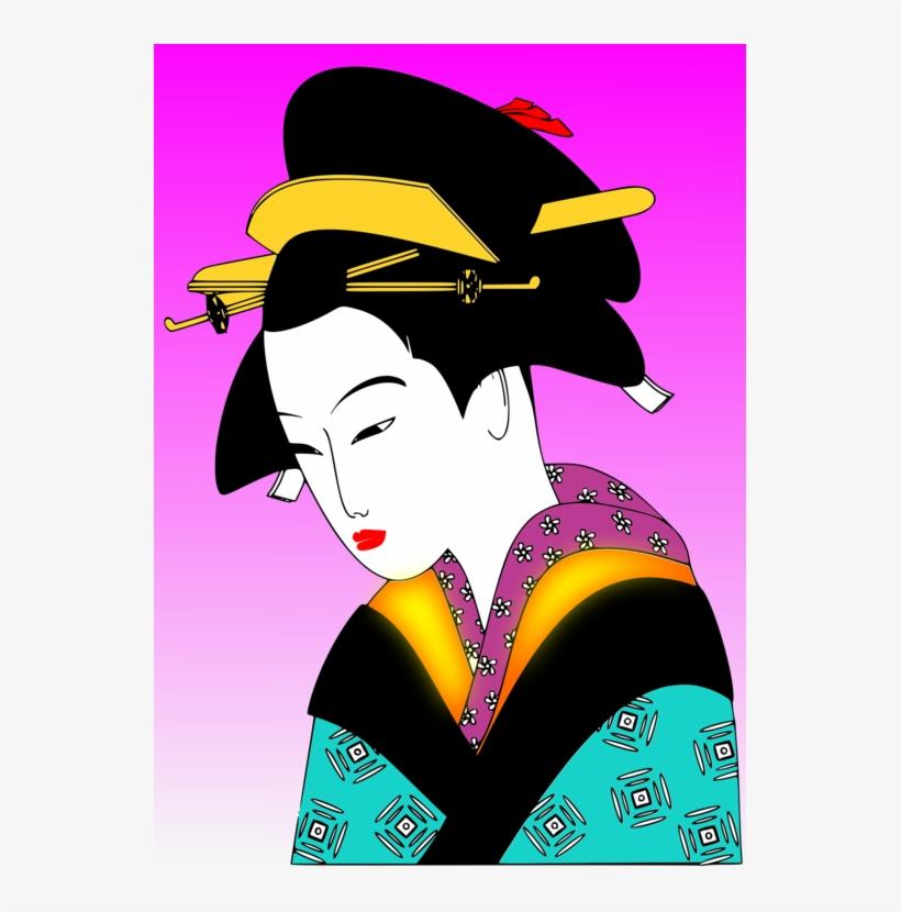 Japanese Art Woman Geisha Kimono.