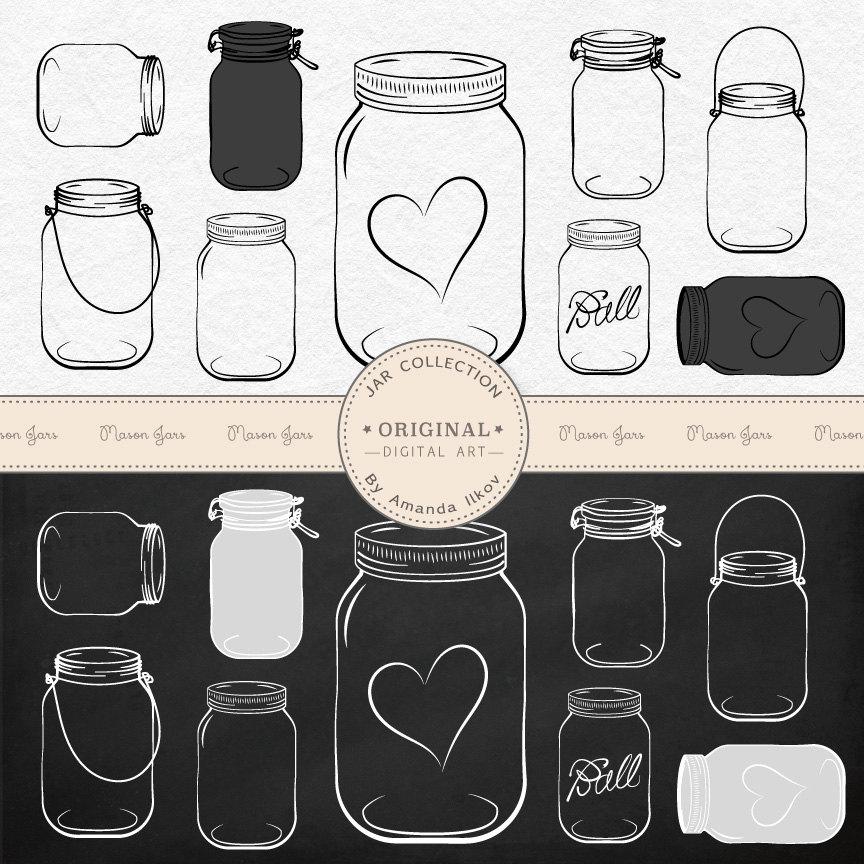 Professional Chalkboard Mason Jar Clip Art / Jar by AmandaIlkov.