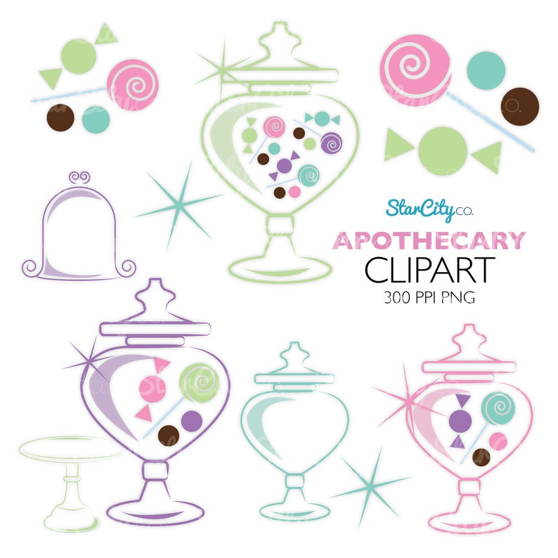 Apothecary Jar Clipart, Candy Clip art, Apothecary Jar graphics, Cake Plate  clipart, Candy Jar clipart, Sparkle clipart, Commercial use.