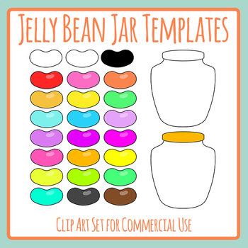 Jelly Bean Jar Templates for Counting, Estimation and Math Candy Clip Art.