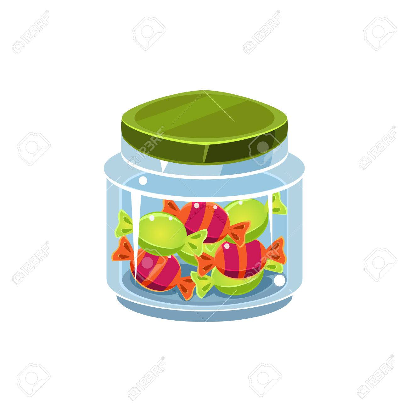 Candy In Transparent Jar Isolated Flat Vector Icon On White Backgroung...