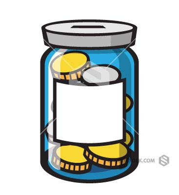 Jar Of Coins Clipart.