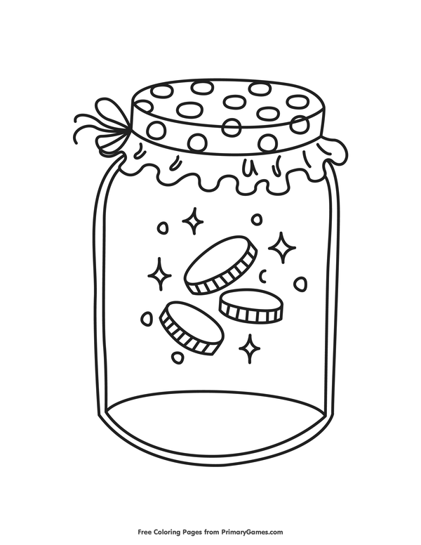 Gold Coins in a Jar Coloring Page • FREE Printable eBook.