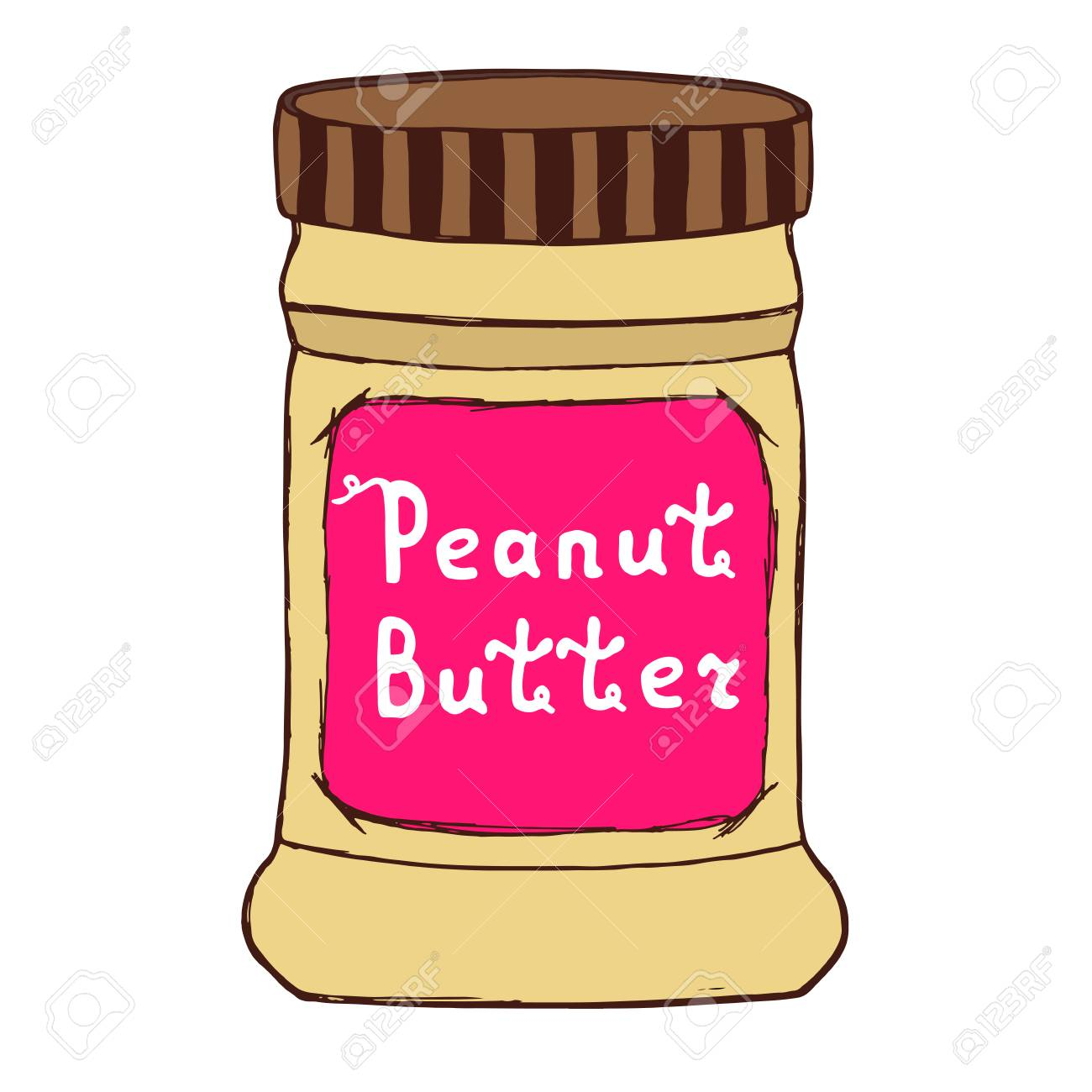 Peanut butter jar. Sketch illustration with hand drawn letters.