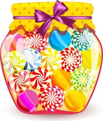 candies jar background shiny colorful decoration.