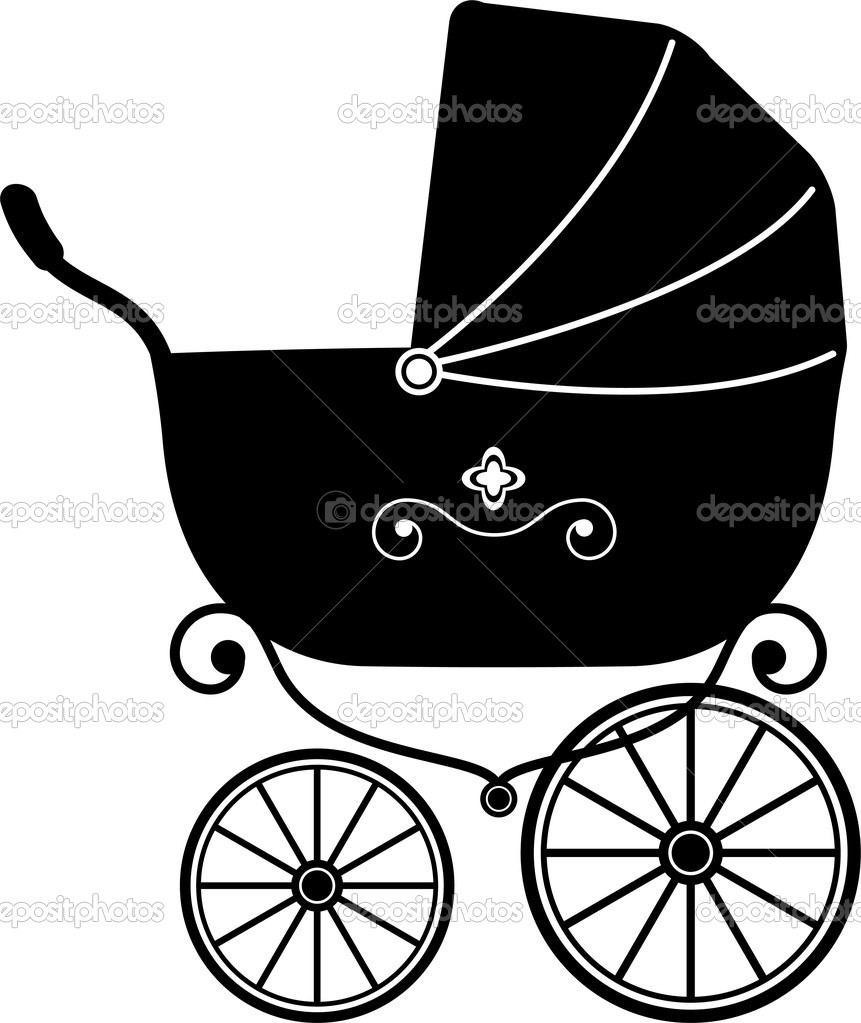 Vintage Baby Carriage Clipart.