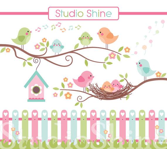 Digital Clipart, The Best Nest, Cute Birds Clip Art, PNG.