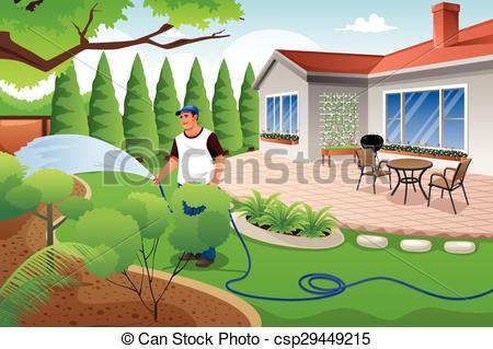 Vector Clip Art of Man watering his grass and garden.