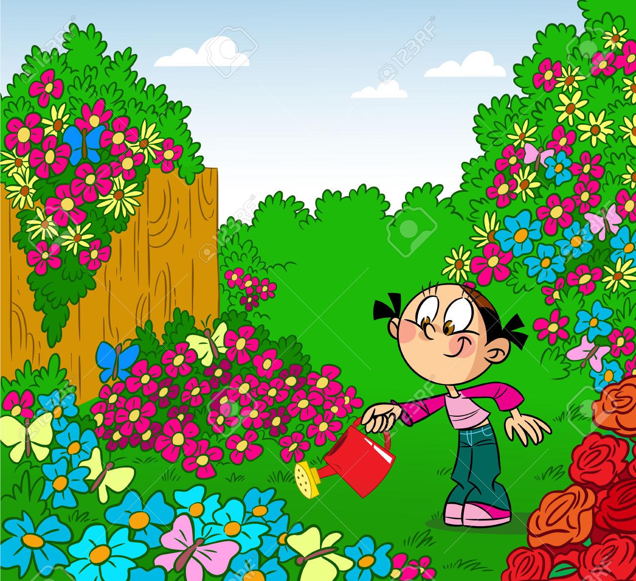 Chica Riega Las Flores En La Lata Ilustración Riego Del Jardín.