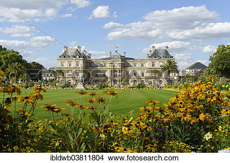 "Stock Photo of ""Palais du Luxembourg, garden facade, Jardin du."