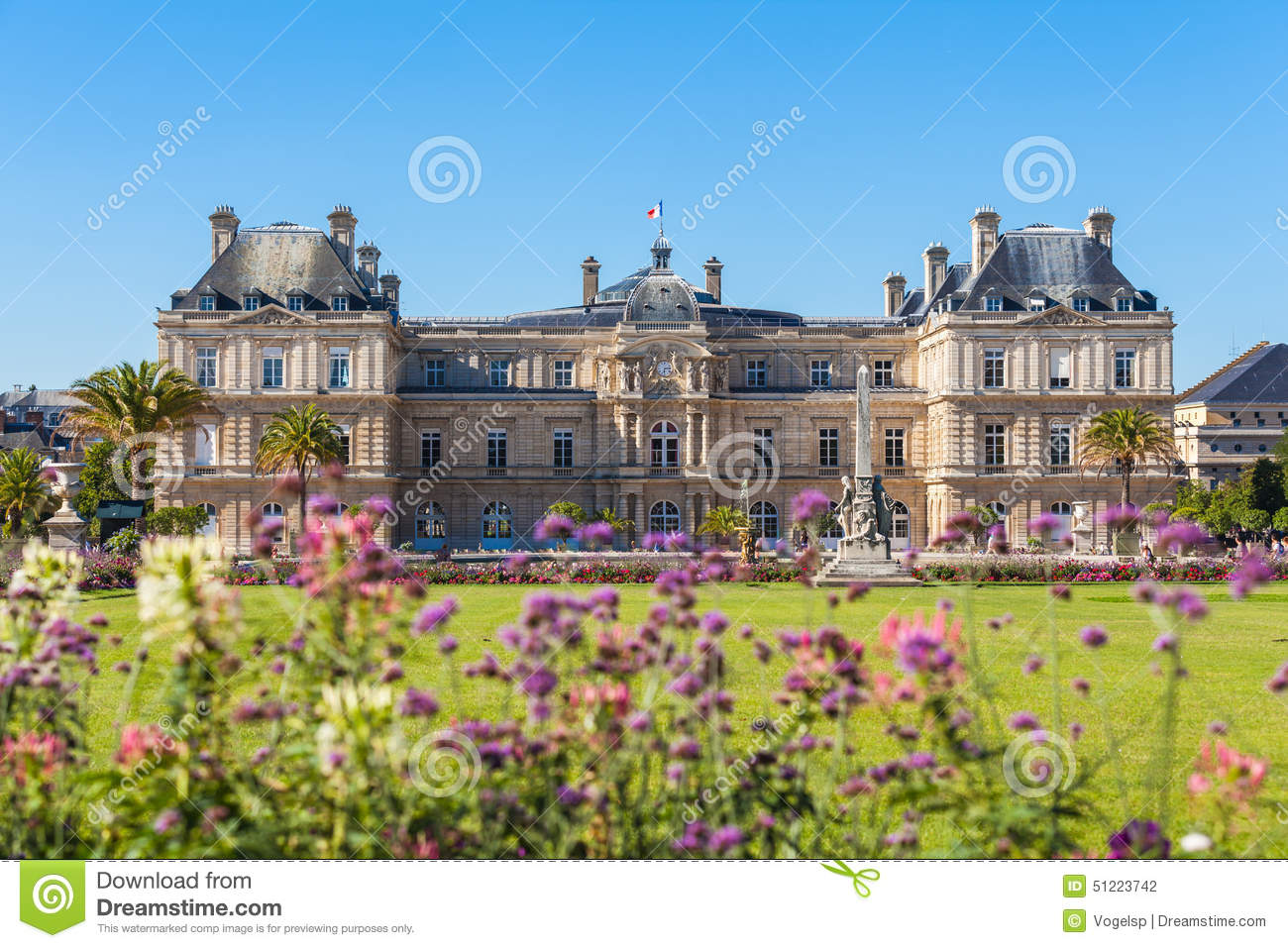 Luxembourg Palace In Jardin Du Luxembourg Stock Photo.