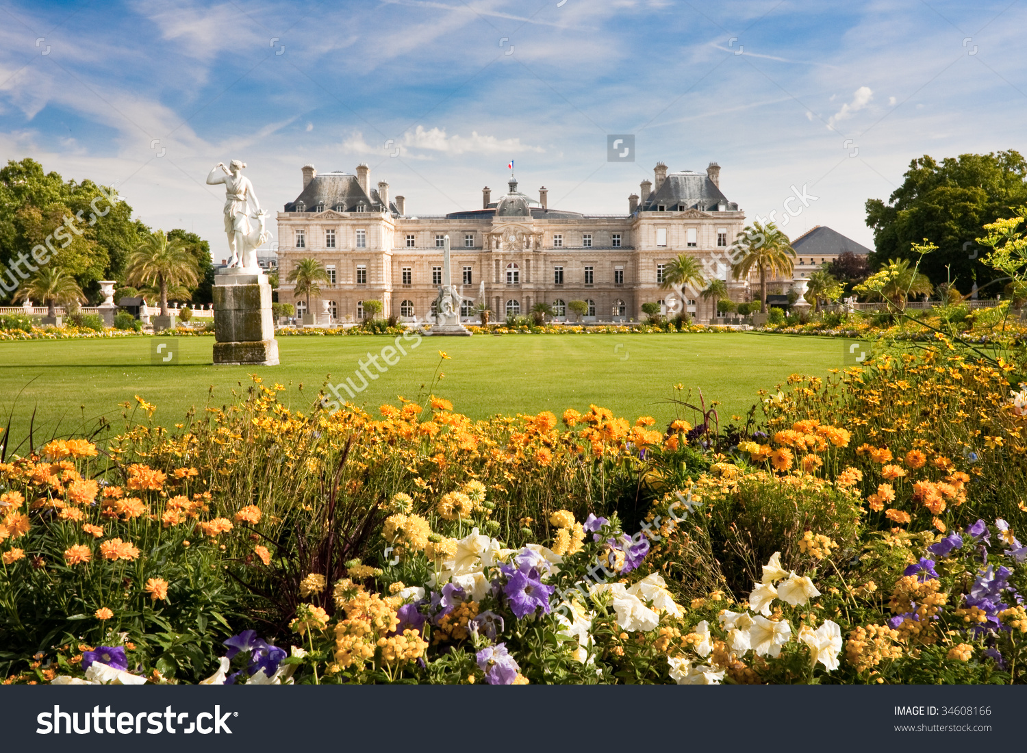Jardin Du Luxembourg Palace Statue Few Stock Photo 34608166.