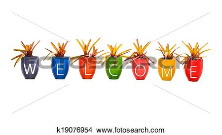 Stock Photo of welcome word made from Jardiniere on white.