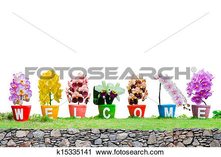 Stock Photography of Welcome word made from Jardiniere orchid.
