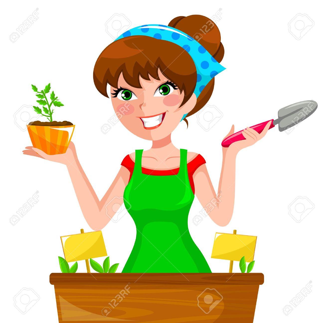 Jeunes Herbes De Plantation Femme Dans Sa Jardinière Clip Art.