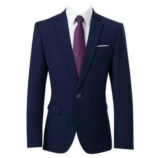Jas Blazer Pria / Jas Kantor / Jas Formal / Jas Safari / Blazer Pria Navy  Strip Putih High Quality.