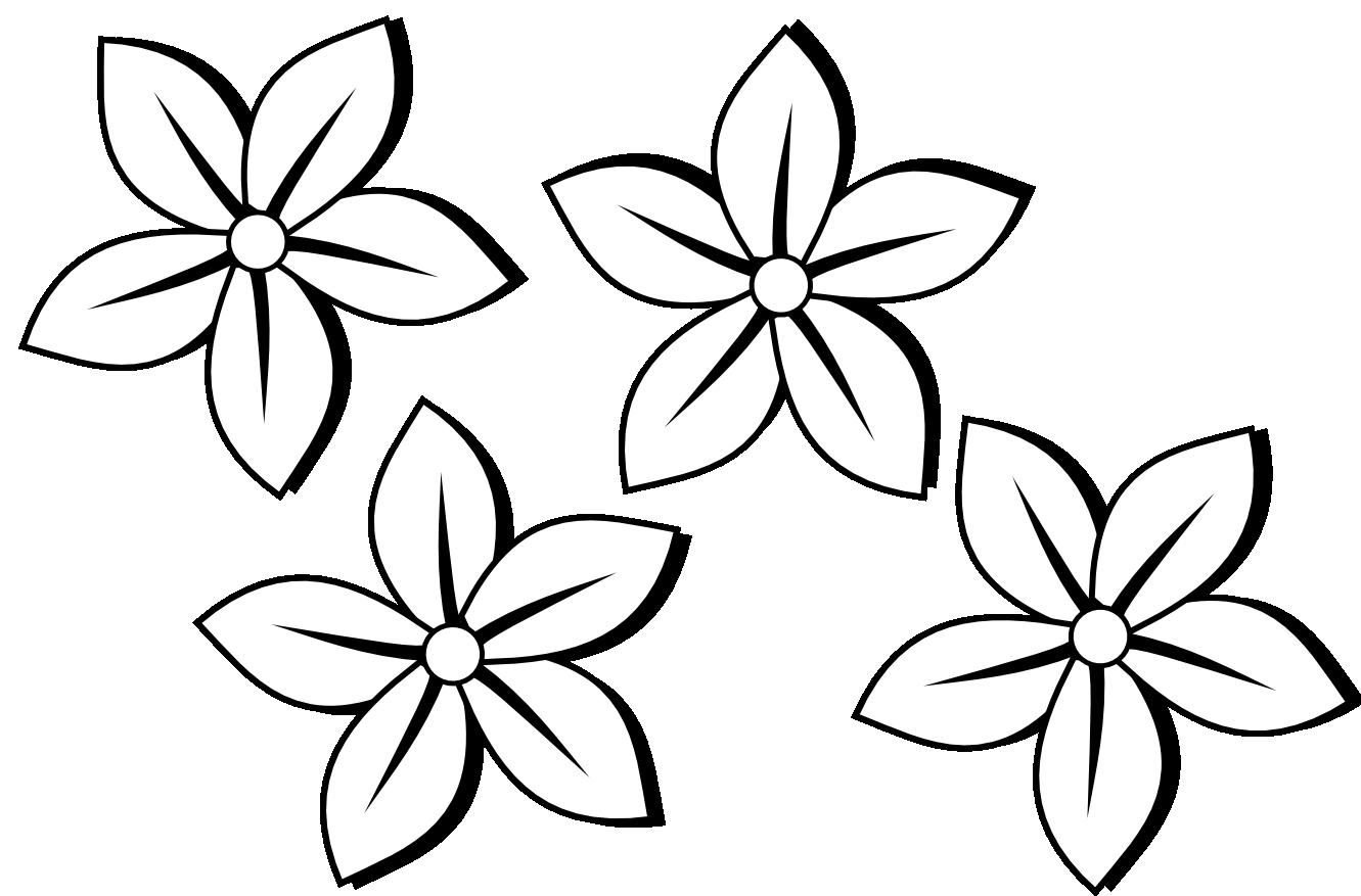 clipartist.info four flowers flora 80 black white line art.