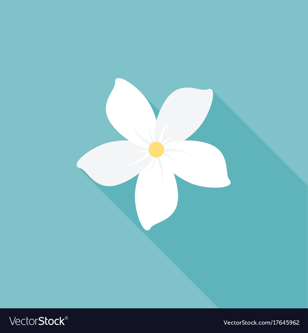 Jasmine flower icon with long shadow.