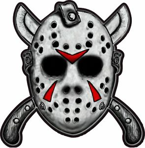 Details about Jason Mask with Machetes Friday the 13th Horror Movie Bumper  Sticker Vinyl Decal.