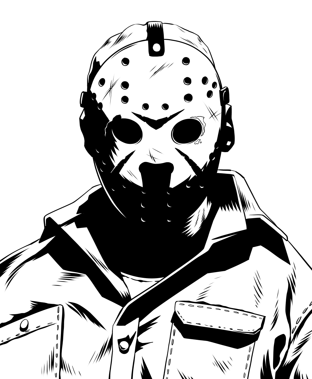 Inktober Friday the 13th: Jason Voorhees! #movies #film #cinema.