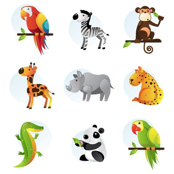 9+ilustraciones+de+animales+de+la+selva+tucan+cebra+chango+koala+.