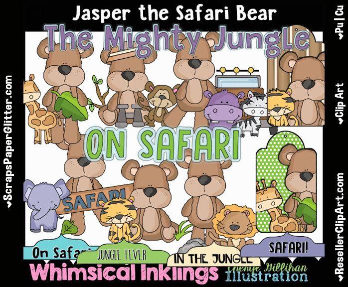 Jasper The Safari Bear Clip Art.