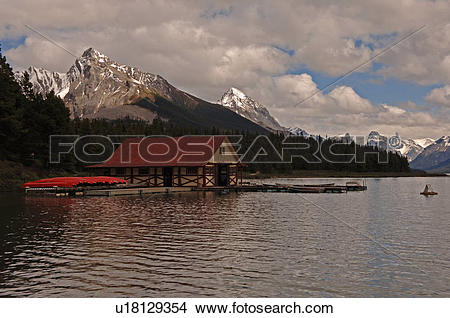 Stock Photo of Boathouse on Maligne Lake, Jasper National Park.