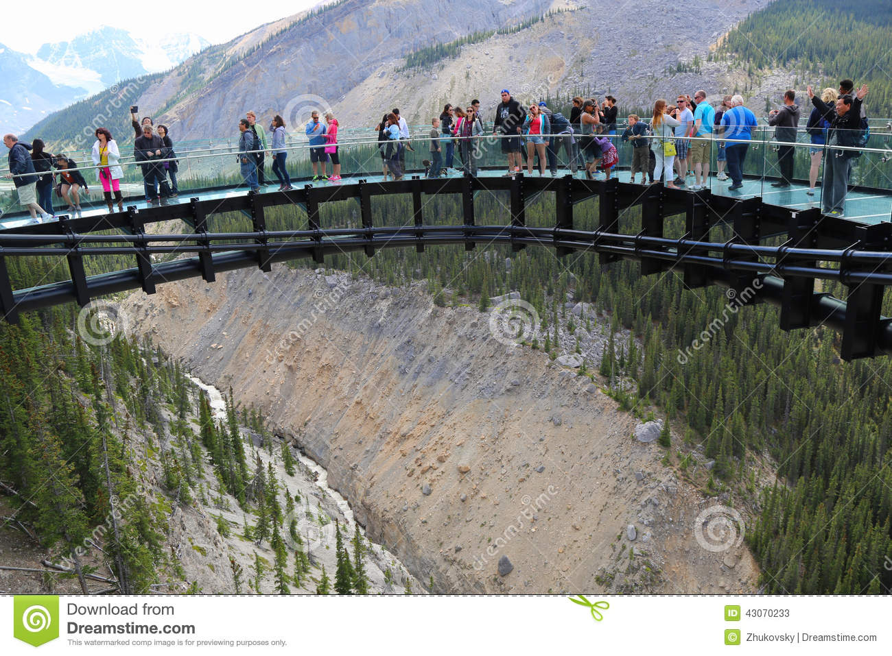 Tourists At The Glacier Skywalk In Jasper National Park Editorial.