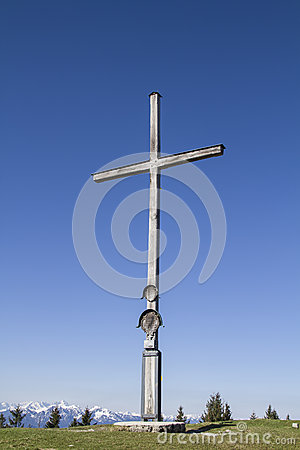 Mountaintop Wooden Cross Royalty Free Stock Photography.